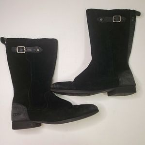 UGG Black Suede Leather MidCalf Riding Boot